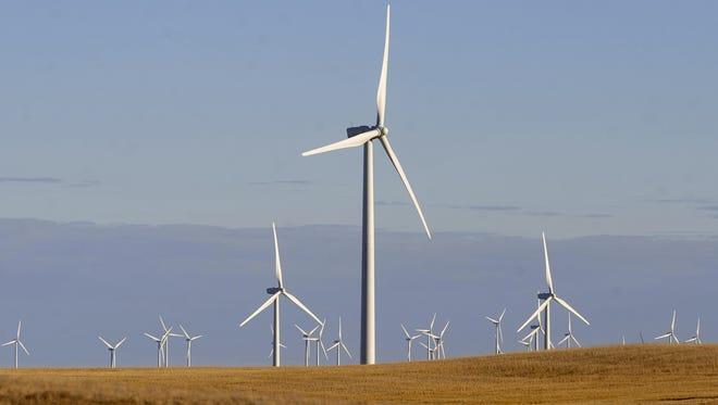 The 126-turbine Rim Rock wind farm northwest of Shelby.