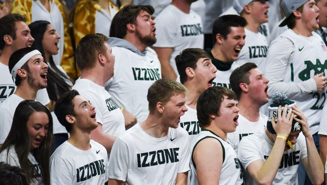 Members of the Izzone cheer on the Spartans Saturday, Jan. 13, 2018, at the Breslin Center in East Lansing.  MSU lost to UM 82-72.