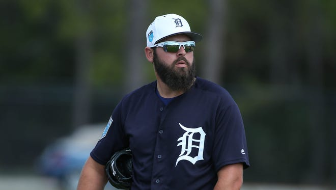 Tigers pitcher Michael Fulmer goes through drills during spring training Feb. 20 in Lakeland, Fla.