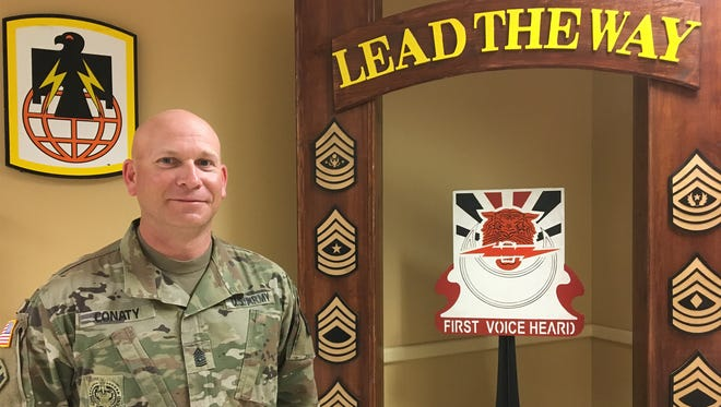 Command Sgt. Maj. Mike Conaty served as the senior enlisted leader for the 86th Expeditionary Signal Battalion for the past two years. He relinquished the position on March 9.