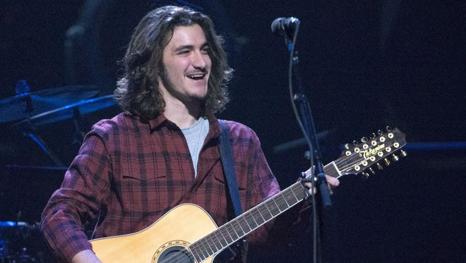 Deacon Frey performs with the Eagles Monday night at Bankers Life Fieldhouse.