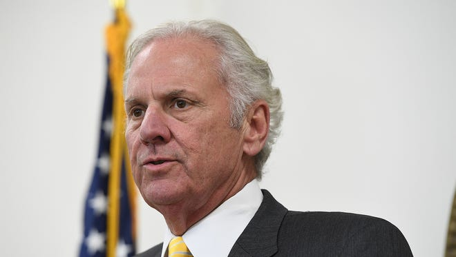 South Carolina Gov. Henry McMaster address the media at a press conference Monday, April 16, 2018, in Columbia.