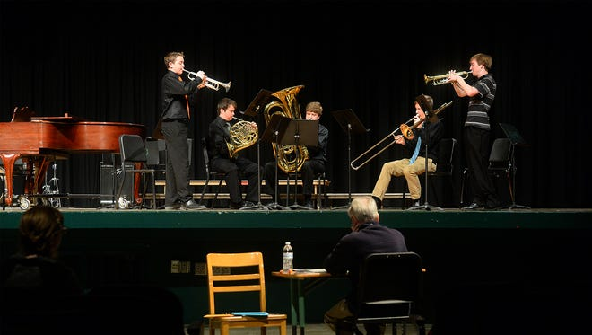 In this 2016 file photo, CMR's Corno Cornetts and the Sagbuts group play for adjudicator Lance Boyd at the MHSA District 6 Music Festival.