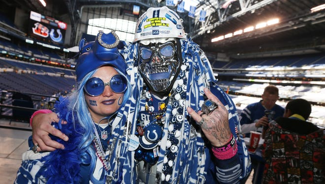 FILE – Colts fans make sure Lucas Oil Stadium is less than hospitable to the road team.