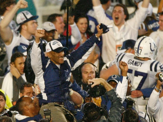 Colts coach Tony Dungy gets a ride on the shoulders of coaches and players after his team won Super Bowl XLI in Miami on Feb 4, 2007.