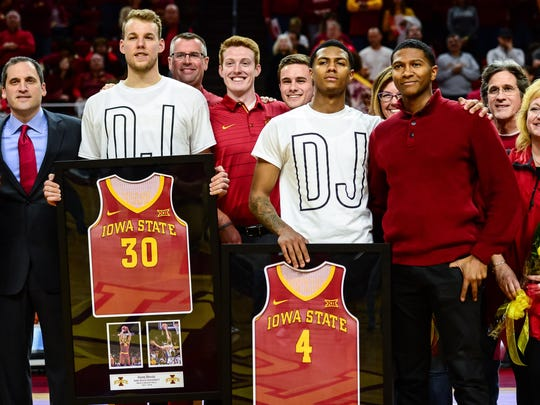 Feb 27, 2018; Ames, IA, USA; Iowa State Cyclones forward Hans Brase (30) and guard Donovan Jackson (4) are honored on senior night with head coach Steve Prohm (left) before the game against the Oklahoma State Cowboys at James H. Hilton Coliseum. Mandatory Credit: Jeffrey Becker-USA TODAY Sports