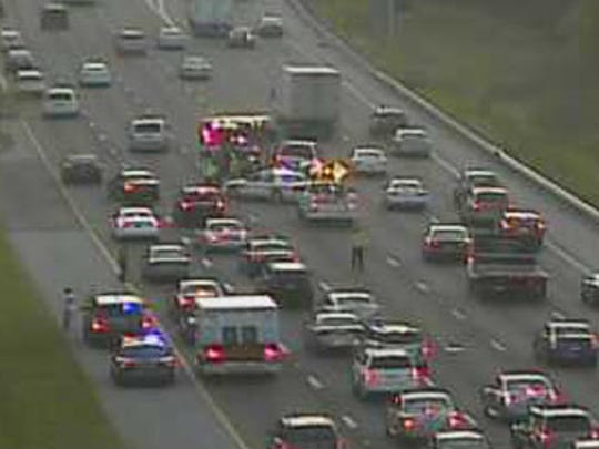 Accident scene on northbound I-95 at 7:14 a.m. Thursday.