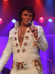 """Tyler James, of Las Vegas, participates in the 2015 """"Elvis Rocks Mesquite"""" competition at the CasaBlanca Resort in Mesquite. James won the 2015 competition."""
