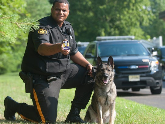 Evesham Police Officer Samuel Funches, and his K-9
