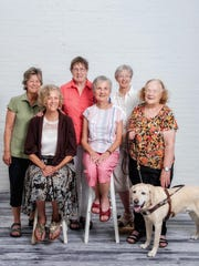 2016 photo. Chittenden County staff volunteers, top row left to right, Cathy Bergeron, Carol Miller, Ellie Campbell. Bottom row, left to right, Joan Palmer, Radetta Nemcosky and Barbara Buchanon, with Herbie.
