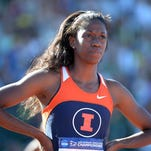 FILE - Ashley Spencer at the NCAA Championships last year, when she competed for Illinois. She now competes for Texas. June 7, 2013