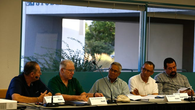 Members of the Gold King Mine Citizens' Advisory Committee meet Aug. 22 at San Juan College in Farmington.