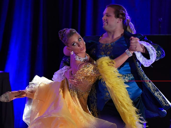 Dancer Tansy Degen, left, performs a waltz from the