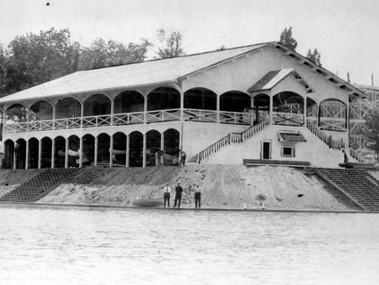 Exterior of boat house at Broad Ripple Park circa 1911.