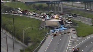 Overturned semi on Interstate 40.