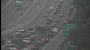 Traffic backed up on I-40 west due to crash.