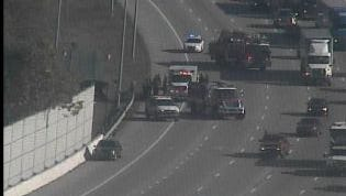 Overturned vehicle on I-65 South