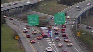 I-40 west crash near I-24 split