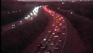 Traffic backed up on Interstate 65 northbound