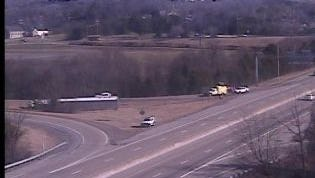 Overturned semi on Briley Parkway in Davidson County.