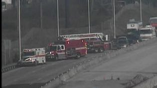 Emergency crews respond to a crash at I-65 south and Trinity Lane in north Nashville.