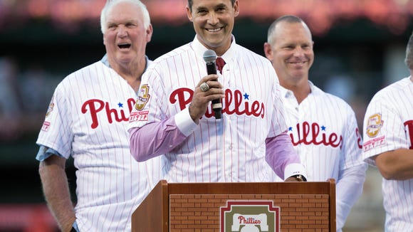 Phillies former left fielder Pat Burrell is honored as the 37th inductee into the Phillies Wall of Fame before a game against the Atlanta Braves at Citizens Bank Park. Credit: Bill Streicher-USA TODAY Sports