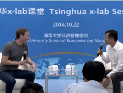 Facebook CEO and co-founder Mark Zuckerberg gives an interview, in Chinese, at Tsinghua University in Beijing.