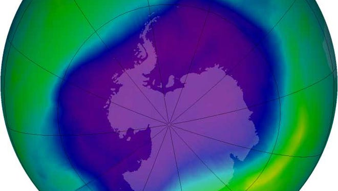 A NASA image shows the ozone hole over Antarctica in  2006.