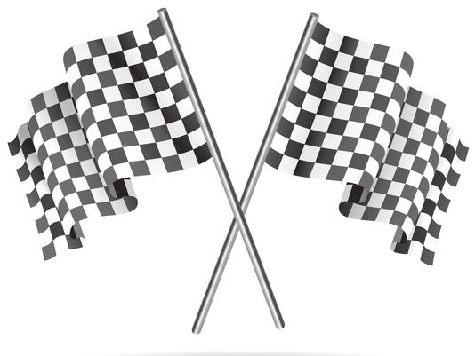 Waving Checkered racing flag. Vector illustration.