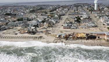 An aerial view of Sandy damage in Ortley Beach from 2012.