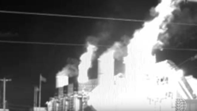 A screen grab from a video provided by Earthworks allegedly shows methane gases escaping from a gas processing plant in Bloomfield.