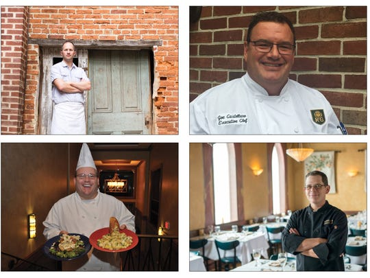These four chefs will take part in the York County Food Bank's Iron Chef event. From top left, clockwise, Sean Arnold, Joe Castellano, George Sheffer and Gregory Mummert.