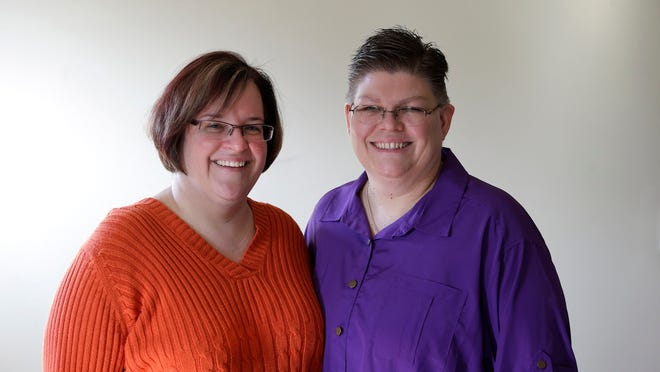 April DeBoer, left, and Jayne Rowse are putting the question of the right to marry nationwide squarely before the U.S. Supreme Court. The Hazel Park couple's plea to be allowed to marry was being filed Monday.