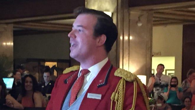 Peabody Duckmaster Anthony Petrina recounts history of ducks in the hotel fountain.