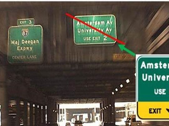 "After a motorist complained, the Port Authority agreed to include ""Exit Only"" on a sign that caused confusion on I-95 just across the GW Bridge in Manhattan."