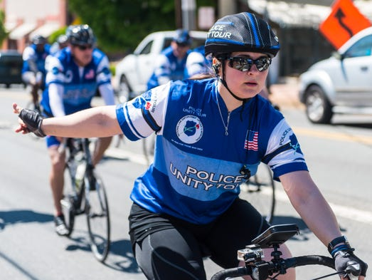 Members of the 2017 Police Unity Tour make their way