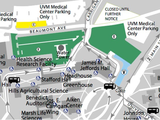 UVM faculty and staff parking (in green) occupies a significant part of central campus, as shown in this detail from a university parking map. UVM Medical Center lots (in white) expand the paved landscape to the north.