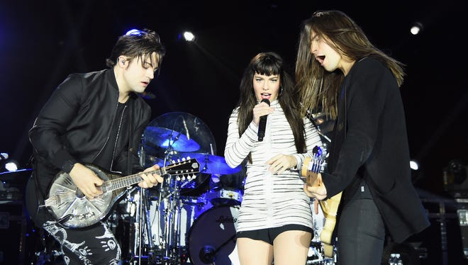 Musicians Neil Perry, Kimberly Perry and Reid Perry of The Band Perry perform onstage during the Taste Of The NFL 'Party With A Purpose' at Houston University on February 4, 2017.