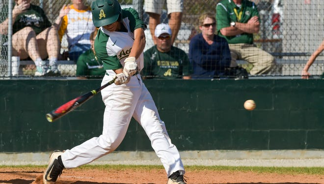 Cole Romero at the plate as Acadiana takes on New Iberia- Tuesday, March 21, 2017.