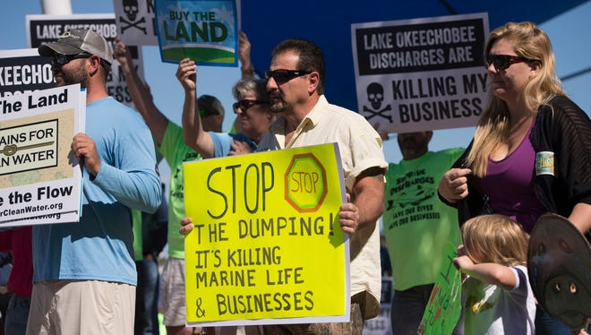 Local residents protest Lake Okeechobee discharges during a news conference held by Bullsugar and the River Warriors in this February, 2016 photo.