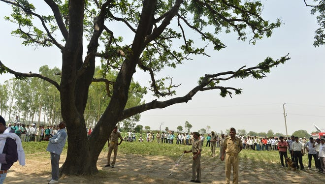 In this photograph taken on May 31, 2014, Indian police officials keep watch at the tree where the bodies of two girls were found hanging in Katra Shahadatgunj in Badaun district, in the northern Indian state of Uttar Pradesh.