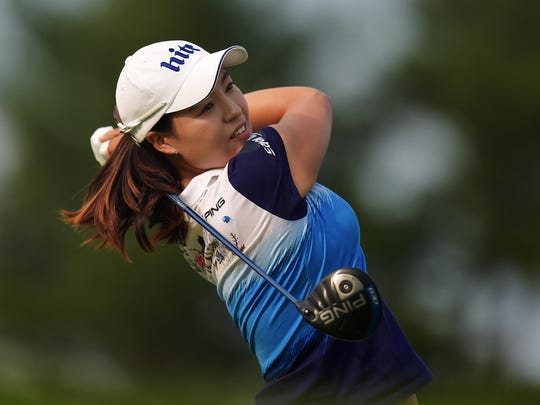 In Gee Chun of South Korea hits her tee shot on the 18th hole during the final round of the U.S. Women's Open at Lancaster Country Club on July 12, 2015, in Lancaster, Pa.