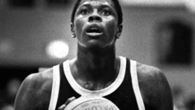 Patrick Ewing prepares for a free throw Jan. 16,1981. Ewing, who played for Cambridge Rindge and Latin School, was called the best high school basketball player in the nation and waS compared favorably to Kareen Abdul-Jabbar and Wilt Chamberlain at the same stage of their careers.