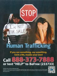 A Human Trafficking awareness sign, distributed at