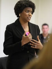 Velda Jones-Potter speaks to members of the Westside