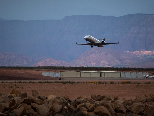 A SkyWest flight headed to Denver takes off from the St. George Municipal Airport on Saturday, August 31, 2013.