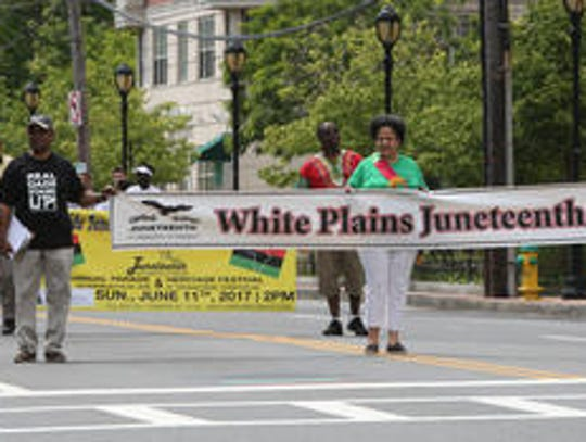 Marchers at 2017 White Plains Juneteenth Parade.