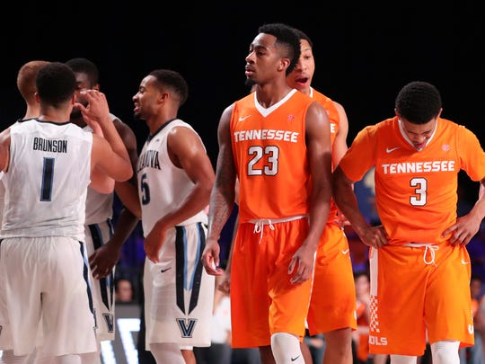 Nov 23, 2017;  Paradise Island, BAHAMAS; Tennessee Volunteers guard James Daniel III (3) and guard Jordan Bowden (23) react  during the second half against the Villanova Wildcats in the 2017 Battle 4 Atlantis in Imperial Arena at the Atlantis Resort. Mandatory Credit: Kevin Jairaj-USA TODAY Sports