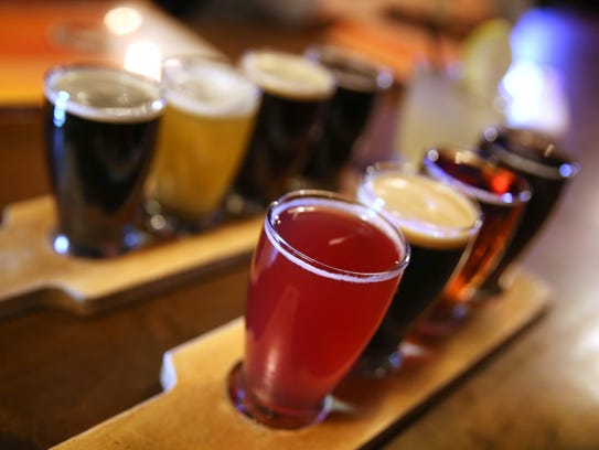 Flights of beer are served up at the Beer Market during