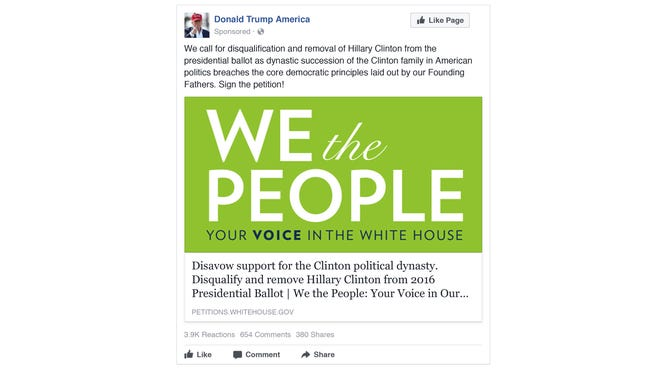 This is one of the Russian Facebook ads intended to stir dissension in the U.S.